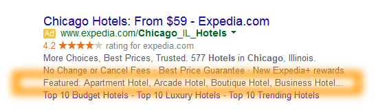Google-AdWords-Ad-Extension-Structured-Snippets-Examples-Featured-Chicago-Hotels